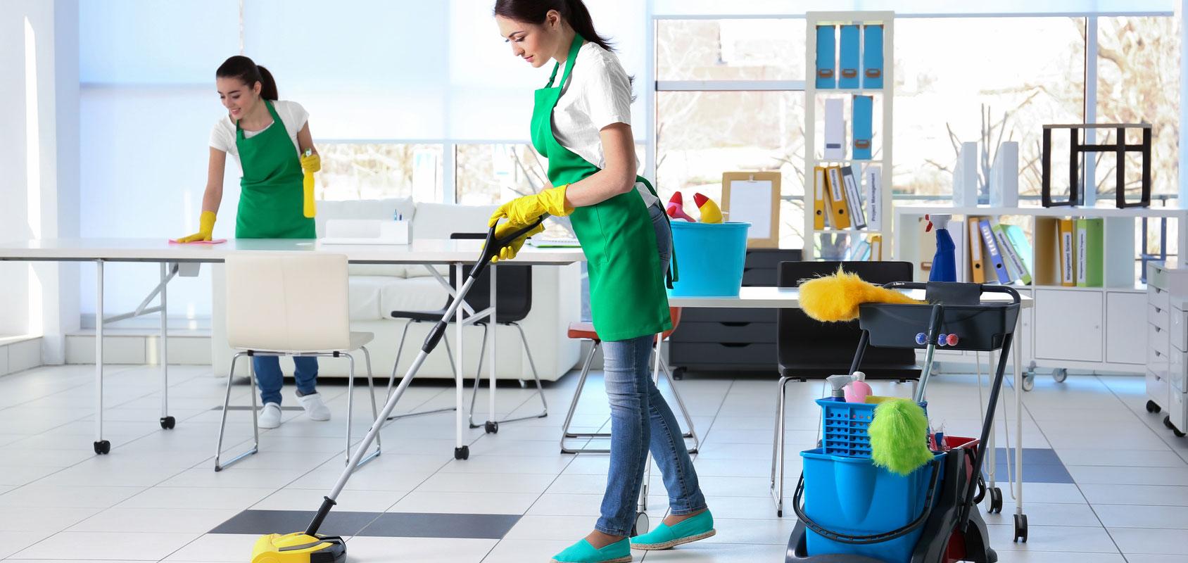 female cleaner office