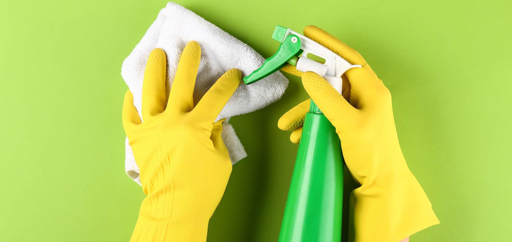 gloves cleaning bottle